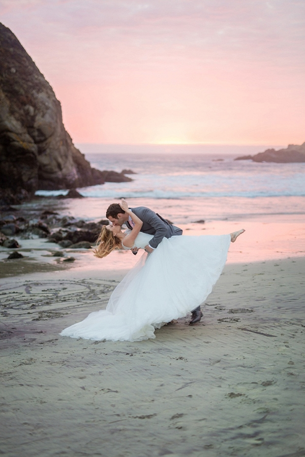sunset beach portrait on The Budget Savvy Bride