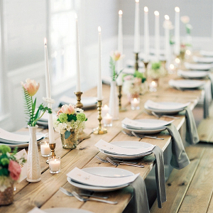 Romantic farm table reception on The Budget Savvy Bride