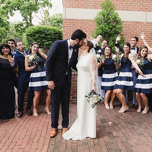 Navy and white bridal party