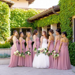 Off the shoulder mauve bridesmaid dresses