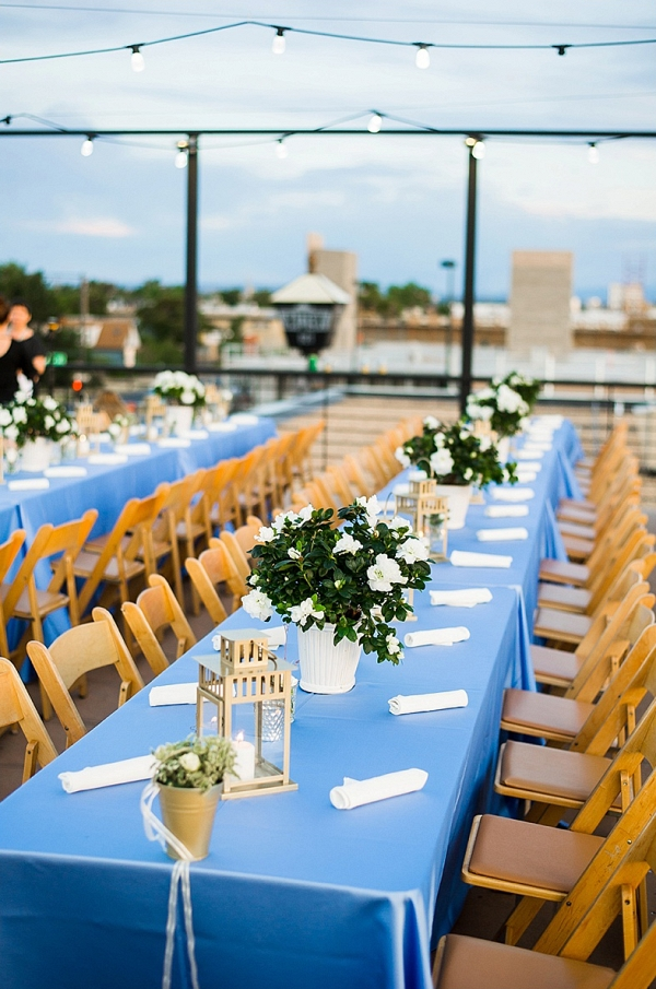 Rooftop wedding reception on The Budget Savvy Bride