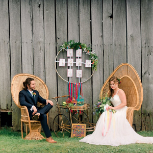 Boho wedding with peacock chairs
