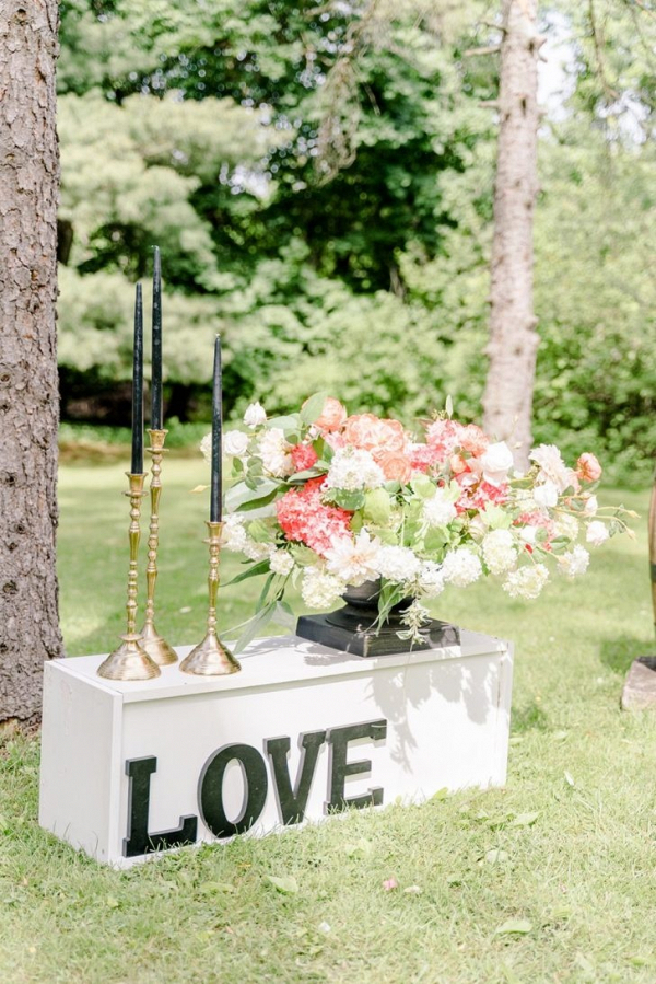 Floral decor and LOVE signage