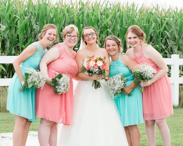 Coral and teal bridal party