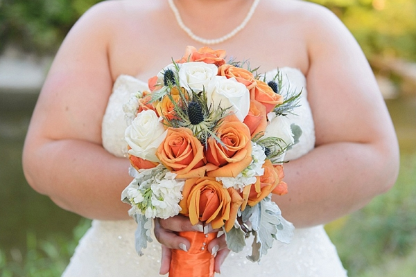 orange bouquet on The Budget Savvy Bride