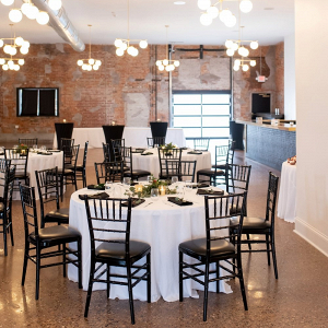 Wedding reception with low floral centerpieces