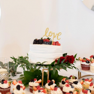 Small wedding cake with fresh fruit