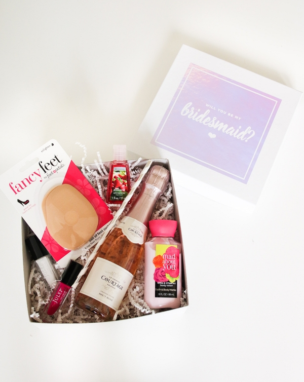 bridesmaids proposal box DIY from The Budget Savvy Bride