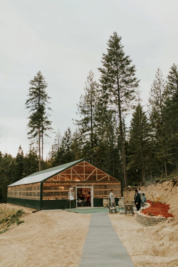 Backyard campsite wedding reception