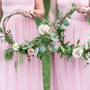 Bridesmaids with floral wreaths