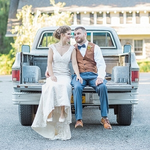 wedding portrait in pick up truck on The Budget Savvy Bride