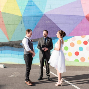 Downtown Las Vegas elopement in front of colorful mural