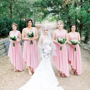 High-low pink bridesmaid dresses