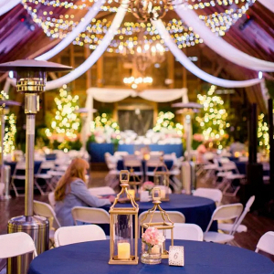 Lantern centerpieces with string lights