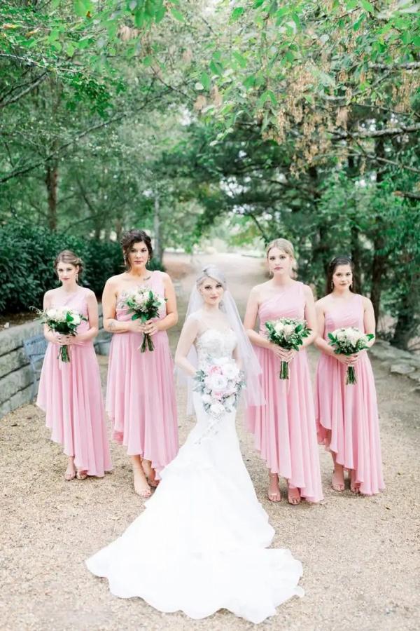 High-low pink bridesmaid dresses