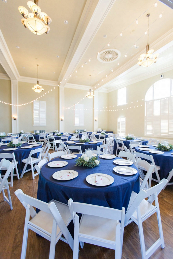 Wedding reception with blue linens