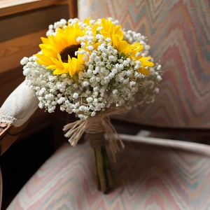 Sunflower and Baby's Breath Wedding Bouquet