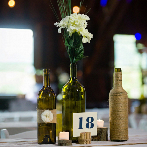 Rustic bottle centerpiece