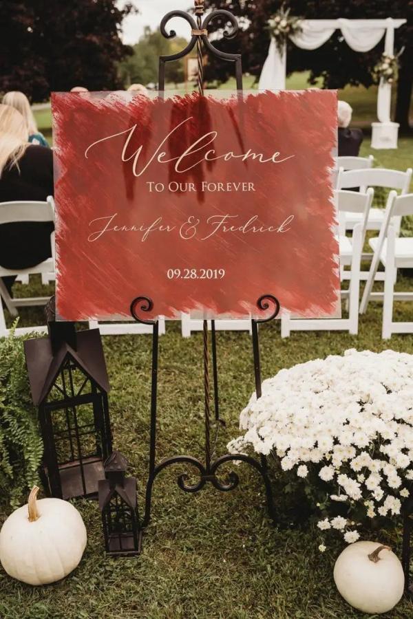 Painted acrylic wedding signage