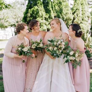 Mismatched pink bridesmaid dresses