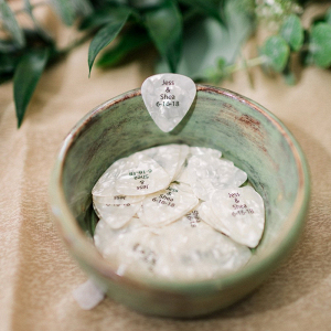 Custom guitar pick wedding favors