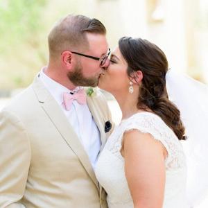 Intimate chapel elopement wedding portrait