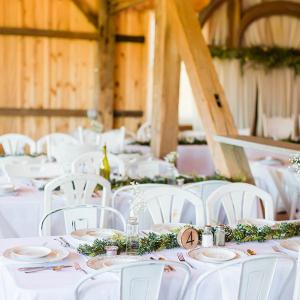 Wedding reception with greenery runner