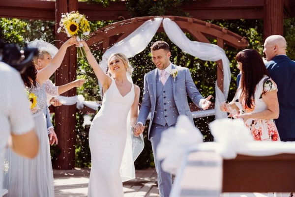 Outdoor spring wedding ceremony
