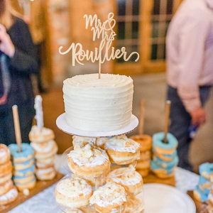 Doughnut tower and wedding cake