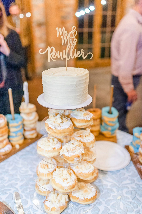 Doughnut tower and wedding cake