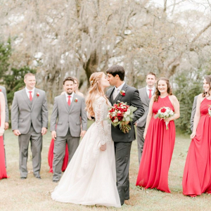 Rustic red winter wedding party