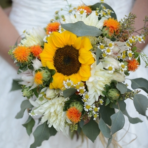 Wildflower Wedding Bouquet with Sunflowers