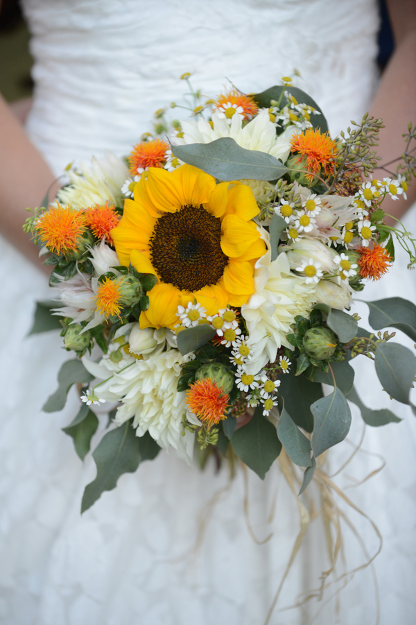 Wildflower Wedding Bouquet with Sunflowers
