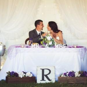 DIY purple sweetheart table