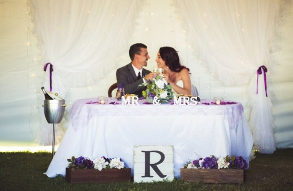DIY purple sweetheart table