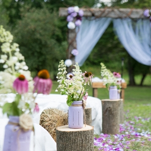 Rustic Tree Stump and Mason Jar Aisle Markers