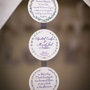Wedding Invitation Garland | Pie Themed Wedding | Photo by Eric Vest Photography