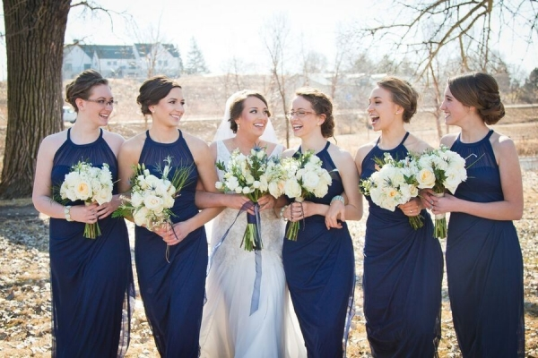 Navy Bridesmaids | Pie Themed Wedding | Photo by Eric Vest Photography