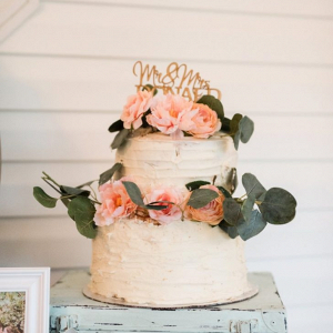 Peach buttercream wedding cake
