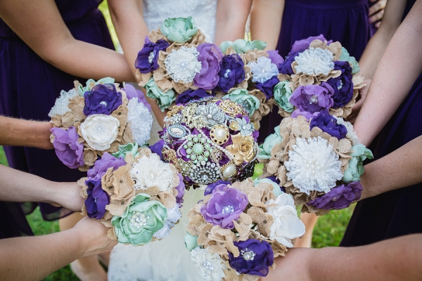 Brooch and fabric wedding bouquets