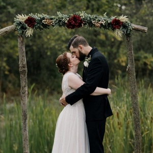 DIY rustic ceremony arch