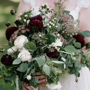 Wild burgundy bridal bouquet