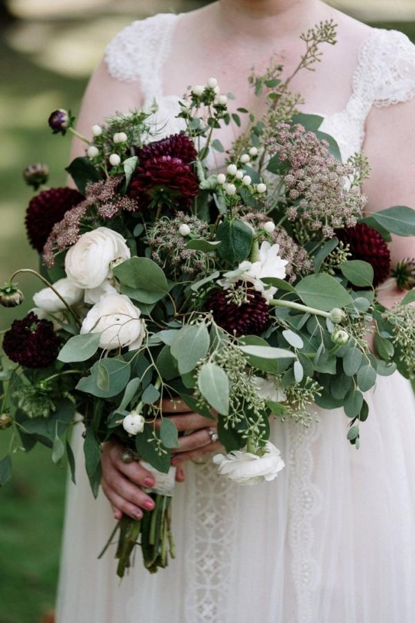 Wild burgundy bridal bouquet