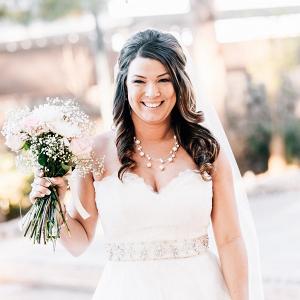 Bride in strapless dress