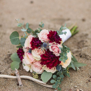 Burgundy and blush dahlia bridal bouquet