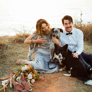 Coastal elopement portrait with dogs