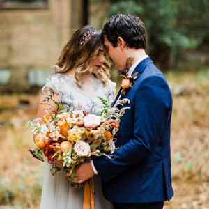 Fall elopement wedding portrait