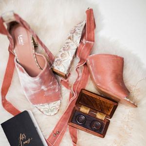 Velvet bridal heels