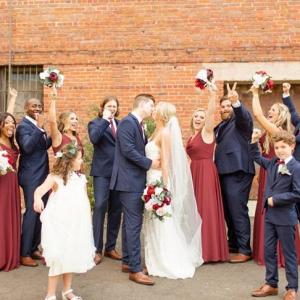Maroon and navy bridal party