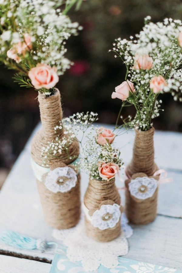 Twine wrapped bottle centerpieces